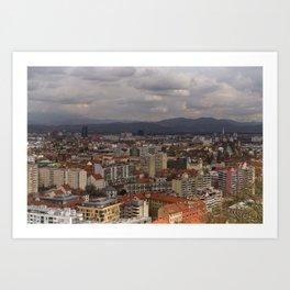 Over The Rooftops of Ljubljana Art Print