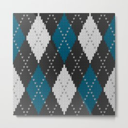 Argyle knit winter sweater pattern blue Metal Print