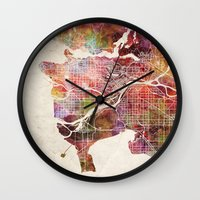 vancouver Wall Clocks featuring Vancouver by MapMapMaps.Watercolors