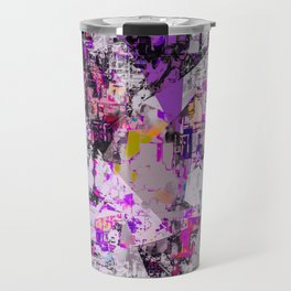 vintage psychedelic triangle polygon pattern abstract in purple pink yellow blue Travel Mug