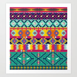 Seamless colorful aztec pattern with birds Art Print