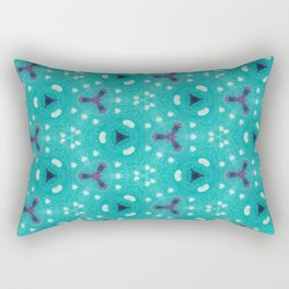Aqua Purple and White Textured Bubble Abstract Design Rectangular Pillow