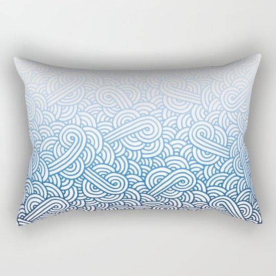 Gradient blue and white swirls doodles Rectangular Pillow