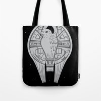 millenium falcon Tote Bags featuring The REAL Millenium Falcon by Scott Neilson