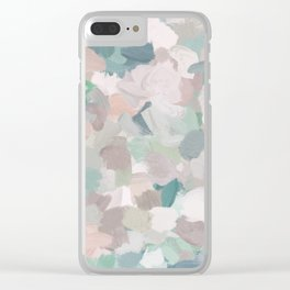 Mint Seafoam Green Dusty Rose Blush Pink Abstract Nature Flower Wall Art, Spring Painting Print Clear iPhone Case