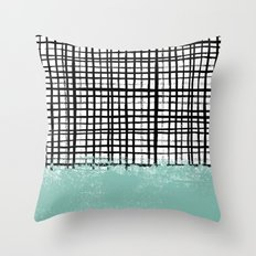 Mila - Grid and mint -  paint, art, artist cell phone case, grid phone case Throw Pillow