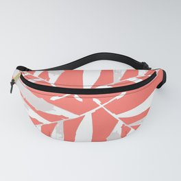 Geometric New Living Coral pattern autumn fall tropical Palm leaves , society6 Fanny Pack