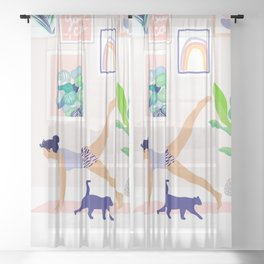 Girl Power Yoga pose Sheer Curtain