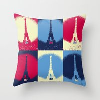 eiffel tower Throw Pillows featuring Eiffel Tower by Aloke Design