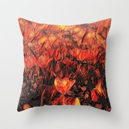 GALATHI Flower Spring is Here Flames - Flowers Throw Pillow