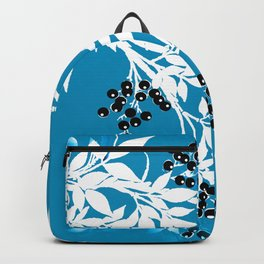 TREE BRANCHES BLUE AND WHITE WITH BLACK BERRIES TOILE Backpack