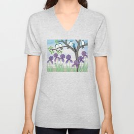 tree swallows & irises Unisex V-Neck
