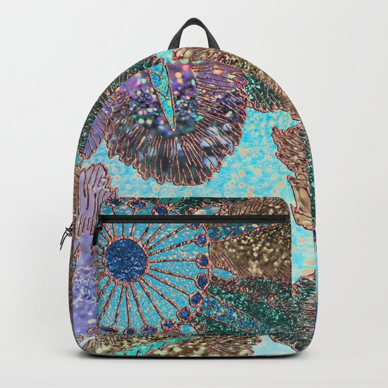 Aqua Green Brown and Blue Faux Glitter Flowers on #Society6 Backpack