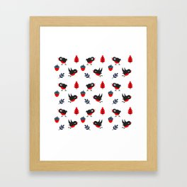 Bullfinch Pattern Framed Art Print