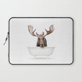 Moose in a Vintage Bathtub (c) Laptop Sleeve