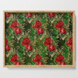 Beautiful Dragonflies and Flowers Pattern Serving Tray