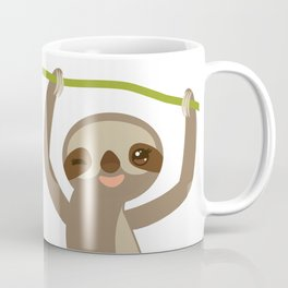 funny and cute smiling Three-toed sloth on green branch 2 Coffee Mug