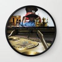 hat Wall Clocks featuring Hat by Faith Buchanan