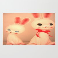 bunnies Area & Throw Rugs featuring  Bunnies by Vintage  Cuteness