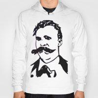 nietzsche Hoodies featuring  Friedrich Nietzsche Portrait Black and White Modern Art hand done  by The Odd Portrait