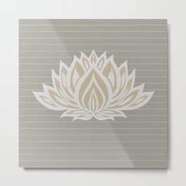 Lotus Meditation Through Pillow (grey/stripes)Lotus Meditation Through Pillow (grey/stripes) Metal Print