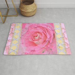 SHABBY CHIC PALE PINK  GARDEN ROSE PATTERN PINK ABSTRACT Rug