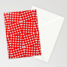 Red Background, White Diamond and Black Spots 2 Stationery Cards