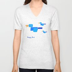 Happy Bird-Blue Unisex V-Neck