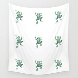 green lichen crawling frog silhouette Wall Tapestry