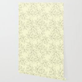 yellow line art floral pattern Wallpaper