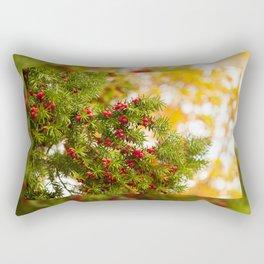 Yew red fruits bunch grow Rectangular Pillow