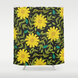 Sunflowers on Black Shower Curtain