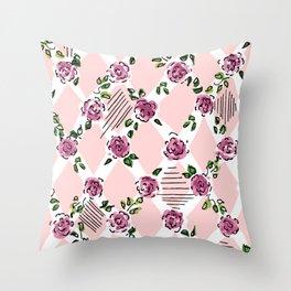 sweet roses, diagonal Throw Pillow