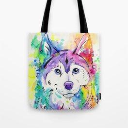 Happy - Siberian Husky Watercolor Art Tote Bag