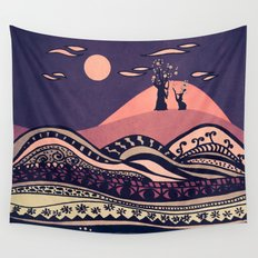 Psychedelic mountains (colour option) Wall Tapestry