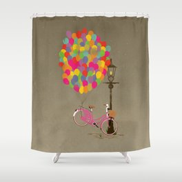 Love to Ride my Bike with Balloons even if it's not practical. Shower Curtain