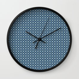 Linen White Angled Polka Dot Grid Line Pattern on Blue - 2020 Color of the Year Chinese Porcelain Wall Clock