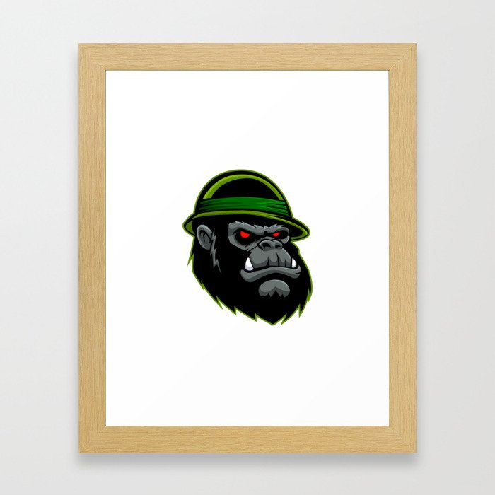 Military Gorilla Head Framed Art Print