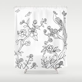 Color Your Own Chinoiserie Panels 3-4 Contour Lines - Casart Scenoiserie Collection Shower Curtain