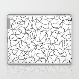 Tangled - Abstract lines in black and white, large scale Laptop & iPad Skin