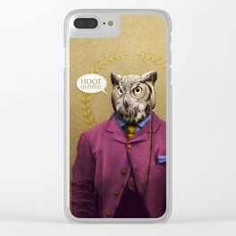 """Mr. Owl says: """"HOOT Happens!"""" Clear iPhone Case"""