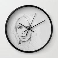 cara Wall Clocks featuring Cara by maritta jones design