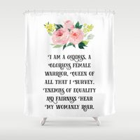 parks Shower Curtains featuring Pawnee Goddesses' Creed- Parks & Recreation by Genuine Design Co.