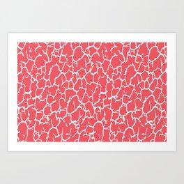 Salmon Pink Cracked Paint Art Print