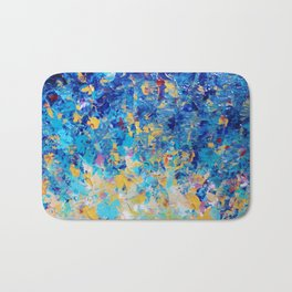 HYPNOTIC BLUE SUNSET - Simply Beautiful Royal Blue Navy Turquoise Aqua Sunrise Abstract Nature Decor Bath Mat