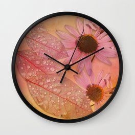Raindrops on leaves and flowers Wall Clock