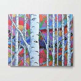 Sunset Sherbert Birch Forest Metal Print