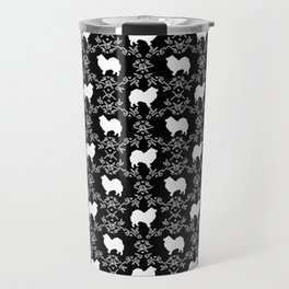 Japanese Spitz dog breed floral silhouette pet art dog person must have gifts Travel Mug
