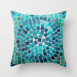 circular - photograph of mosaic tiles Throw Pillow