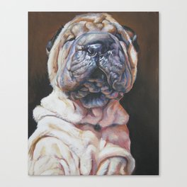 Shar Pei Dog art portrait from an original painting by L.A.Shepard Canvas Print